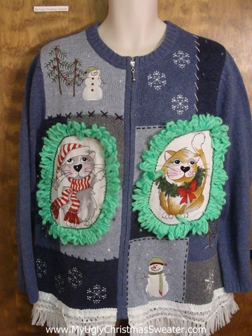 Great Outdoors and Snowmen Cat Christmas Sweater