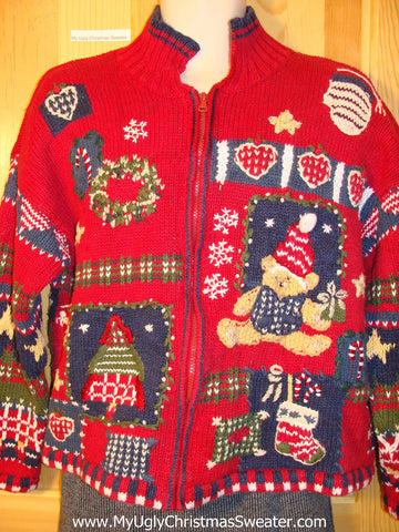 Tacky Fantastic Ugly Christmas Sweater with Mind Numbing Decorations on Front, Back, and Sleeves (f699)