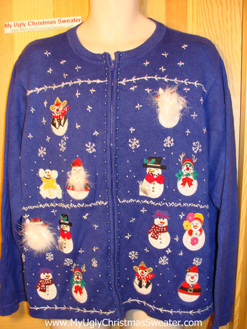 Tacky Ugly Christmas Sweater with Bling Beaded Snowmen (f69)
