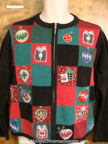 Checkerboard with Ornaments Cheesy Christmas Sweater