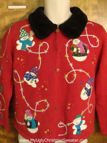 Winter Snowmen Cheesy Christmas Sweater
