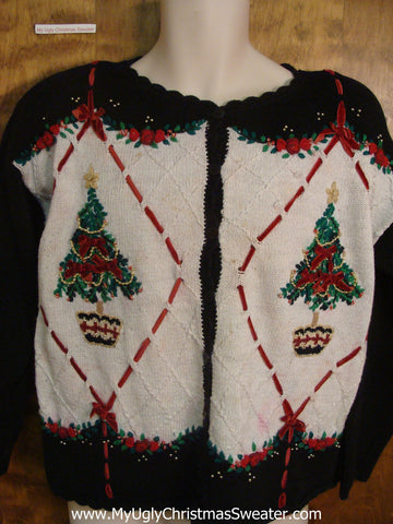 Argyle with Trees Cheesy Christmas Sweater