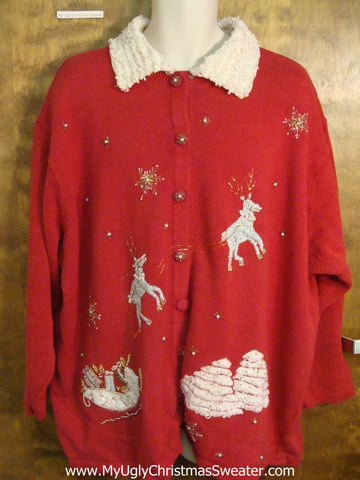 Reindeer Pulling Sleigh Cheesy Christmas Sweater