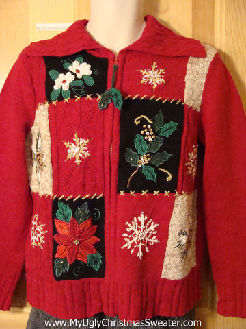 Tacky Ugly Christmas Sweater with Poinsettias and Ivy Zipper Pull  (f700)