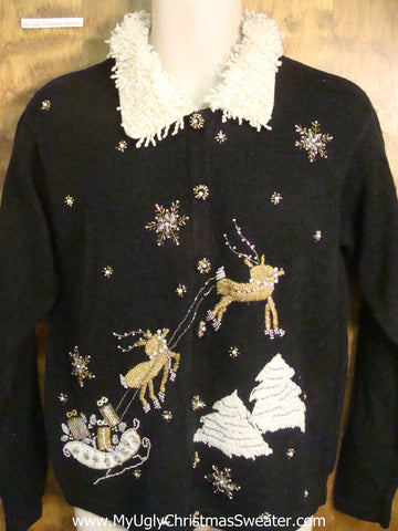 Gold Reindeer Cheesy Christmas Sweater