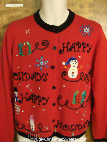 Bling HAPPY HOLIDAYS Cheesy Christmas Sweater