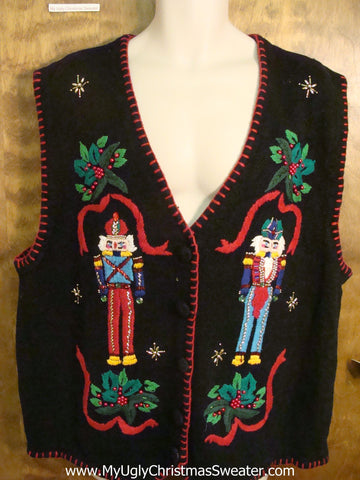 Festive Nutcrackers and Holly Cheesy Christmas Sweater Vest