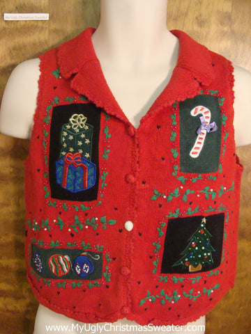 Cute Red Cheesy Christmas Sweater Vest