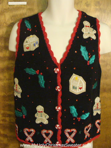Gingerbread Party Cheesy Christmas Sweater Vest