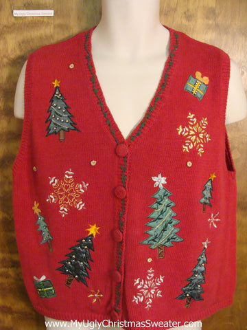 Tacky Trees and Snowflakes Cheesy Christmas Sweater Vest