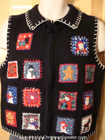Tacky Ugly Christmas Sweater Vest with Crafty Blocks Filled with Festvie Decorations (f702)