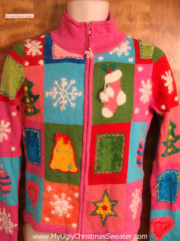 Tackiest Pink Patchwork Cheesy Christmas Sweater