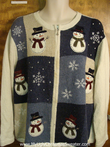 Snowmen Friends Gather Round Cheesy Christmas Sweater