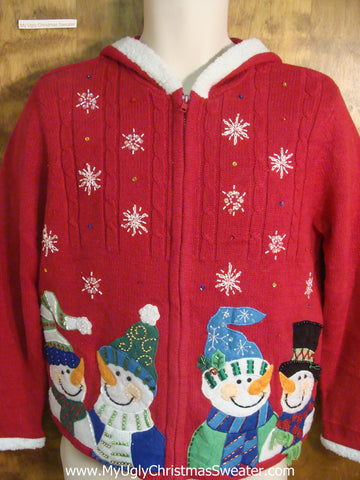 Snowman Gathering Cheesy Christmas Sweater Hoody