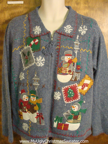 Caroling Snowmen Cheesy Christmas Sweater