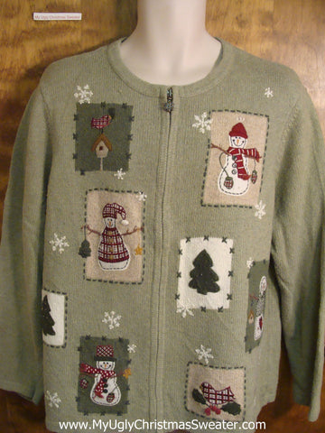 Holiday Snowman Green Cheesy Christmas Sweater