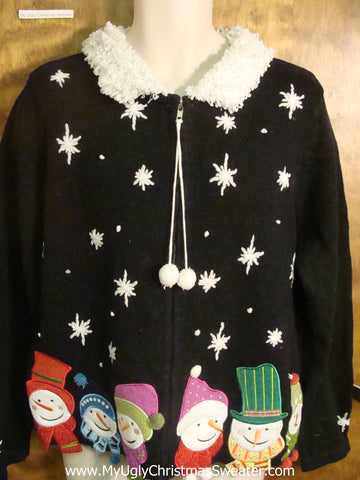 Jolly and Colorful Snowmen Cheesy Christmas Sweater