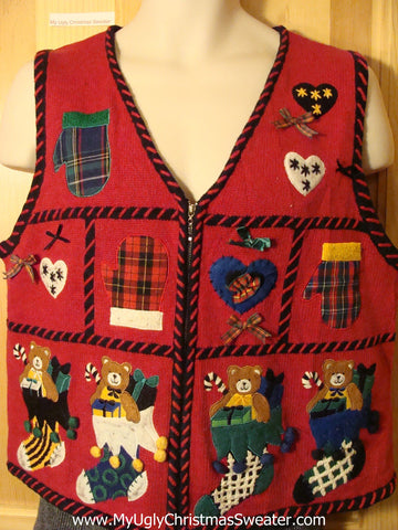 Tacky Ugly Christmas Sweater Vest with Plaid Mittens and Bears in Stockings  (f703)