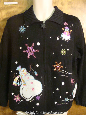 Pastel Snowmen and Snowflakes Cheesy Christmas Sweater