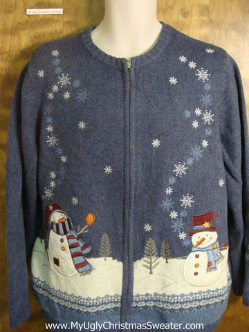 Snowflakes Swirling Cheesy Christmas Sweater