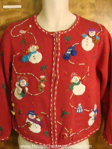 Snowmen with 3D Scarves Cheesy Christmas Sweater