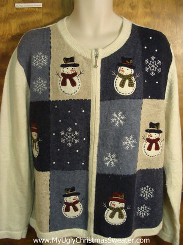 Checkerboard Snowman Knit Cheesy Christmas Sweater