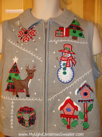 Tacky Plaid and Checkerboard Theme Ugly Christmas Sweater Vest with Reindeer, Snowman, and Birdhouses (f704)