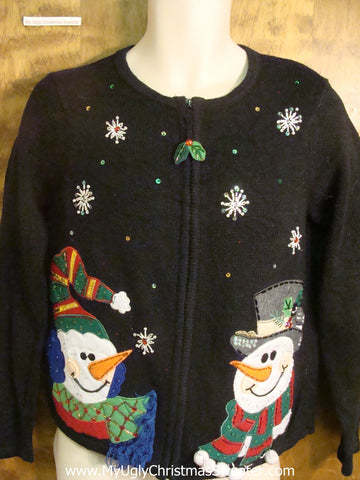 Snowmen in Love Cheesy Christmas Sweater