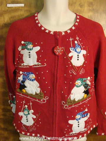 Snowman Having Awesome Time Cheesy Christmas Sweater