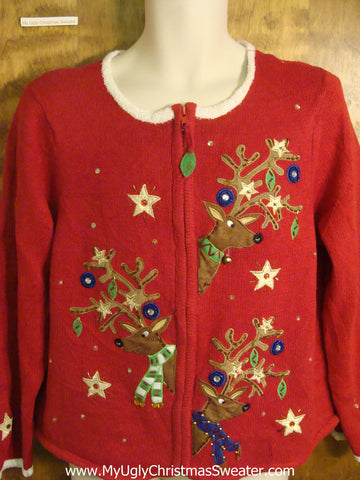 Starry Night Reindeer Cheesy Christmas Sweater