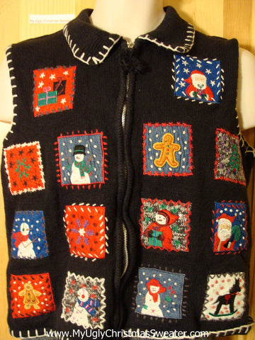 Tacky Ugly Christmas Sweater Vest with Crafty Blocks Filled with Festvie Decorations (f705)