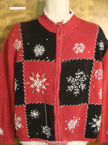 Red and Black Checkerboard Cheesy Christmas Sweater