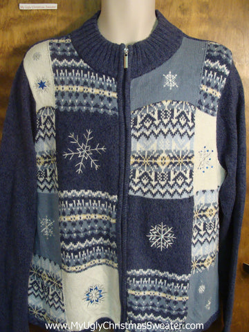 Snowflakes and Nordic Print Cheesy Christmas Sweater