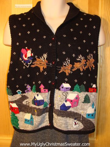 Tacky Ugly Christmas Sweater Vest with Santa and Reindeer Flying over a Winter Wonderland (f706)