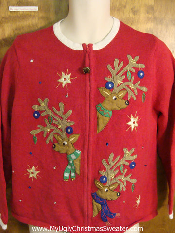 Reindeer with Ornaments Cheesy Christmas Sweater