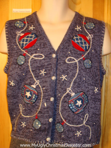 Tacky Ugly Christmas Sweater Vest with Ornaments and Snowflakes  (f707)