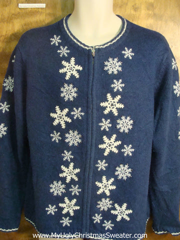 Blue with Snowflakes Cheesy Christmas Sweater