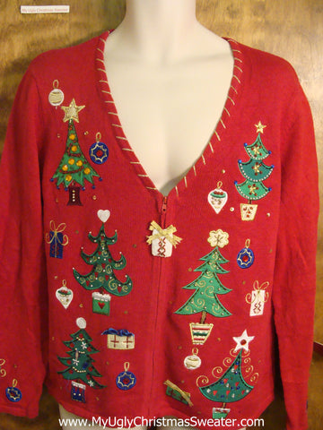 Bling Trees, Presents, and Ornaments Cheesy Christmas Sweater