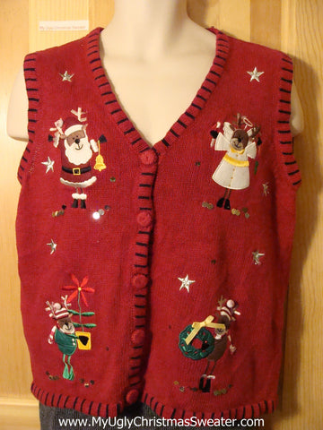 Tacky Ugly Christmas Sweater Vest with Reindeer Angel and Santa (f709)