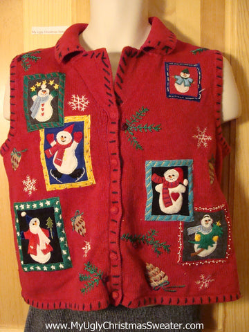 Tacky Ugly Christmas Sweater Vest with Snowmen (f710)