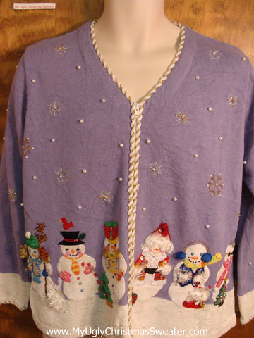 Dressed Up Snowmen Bad Christmas Sweater