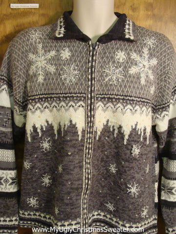 Snow and Icicles Bad Christmas Sweater