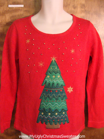 Cheesy Tree Bad Christmas Sweater
