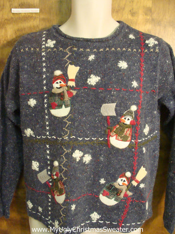 Snowmen Shoveling Snow Bad Christmas Sweater