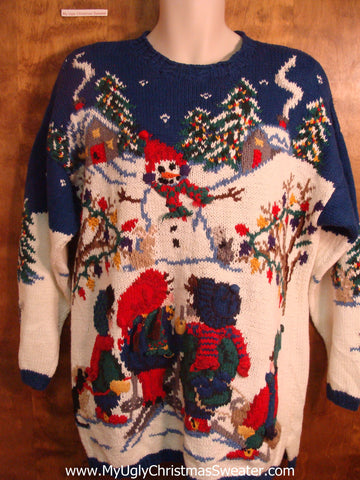 Kids Building Snowman Bad Christmas Sweater