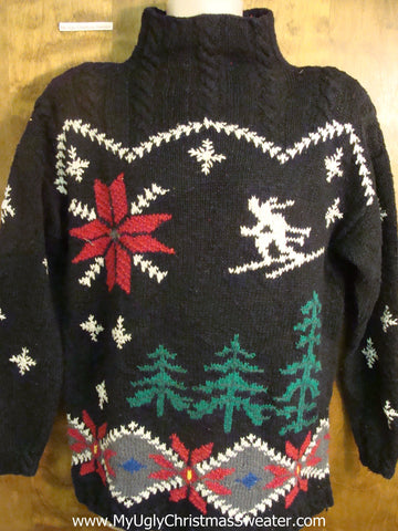 80s Skiing and Winter Fun Bad Christmas Sweater