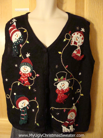 Tacky Ugly Christmas Sweater Vest with Happy Carrot Nosed Snowman Heads with Dangling Scarfs (f712)