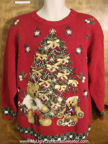 Excited Teddy Bears Bad Christmas Sweater