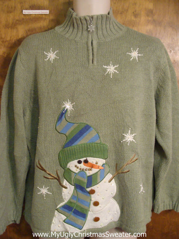 Cheesy Snowman and Snowflakes Bad Christmas Sweater
