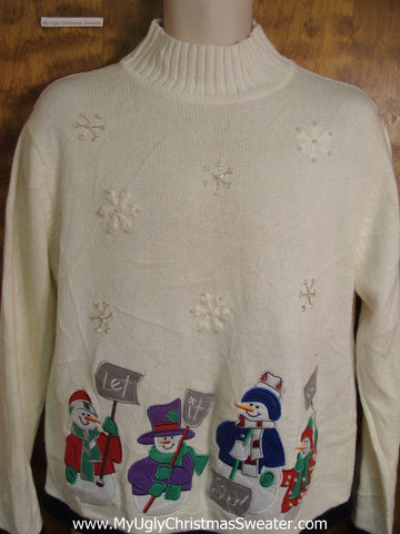 LET IT SNOW Snowmen Bad Christmas Sweater